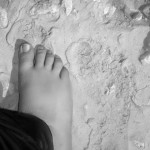 My foot next to the footprint of an Ancient Egyptian, Amarna, Egypt 2012