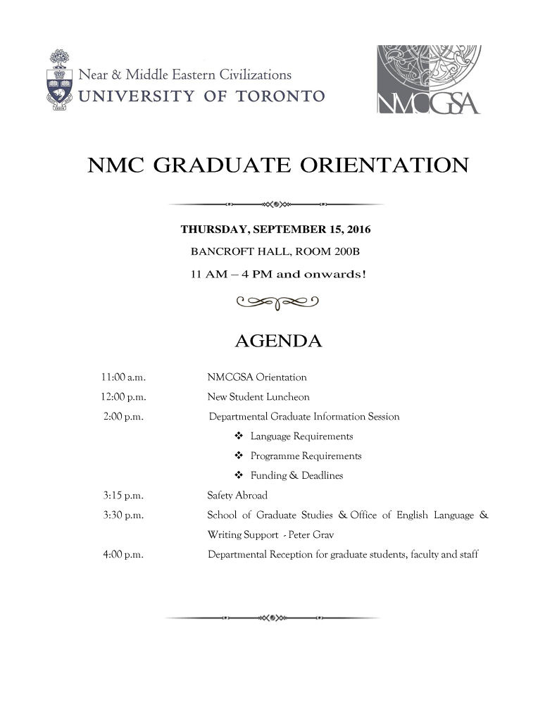 NMC Graduate Orientation 2016 Flyer